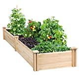 YAHEETECH Raised Garden Bed Kit - Wooden Elevated Planter Garden Box for Vegetable/Flower/Herb Outdoor Solid Wood 96.7 x 24.6 x 10.6inches