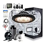 Hydro Plus Hydroponic Growing System 24''x24''x48'' Small Grow Tent+UFO LED Grow Lights 100W+4'' Inline Fan Filter Kit+Thermometer+Outlet Timer+60mm Bonsai Shear+Plant Trellis Netting+Light Hangers