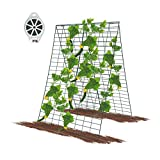 GROWNEER 3 Packs 34 x 48 Inches Green Foldable Cucumber Trellis with 328 Feet Twist Ties, for Cucumber, Climbing Plants Vegetables Flowers