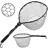 PLUSINNO Fly Fishing Net Fish Landing Net, Trout Bass Net Soft Rubber Mesh Catch and Release Net (16' x 13' Hoop Size)
