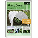 CTREE Plant Covers Freeze Protection 0.9oz 8Ft x 24Ft Floating Row Cover Rectangle Plant Cover for Cold Protection, Sun, Pest Protection, and Plant Growth Season