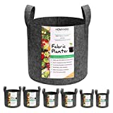 Homyhoo 6-Pack Plant Grow Bags, Thickened Nonwoven Aeration Fabric Planter Pot 3/5/7 Gallon Variety Size with Sturdy Handles for Garden Indoor Plants
