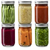 Glass Regular Mouth Mason Jars, Glass Jars with Silver Metal Lids for Meal Prep, Food Storage, Canning, Drinking, for Overnight Oats, Jelly, Dry Food, Salads, Yogurt (6 Pack) (12 Ounce)