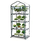 AMERLIFE 4 Tier Mini Greenhouse Portable Garden Plant Green House with Zippered PVC Cover and Metal Shelves for Garden Yard Patio Indoor Outdoor Use Extra Hooks and Wind Ropes, 63''x28''x20''