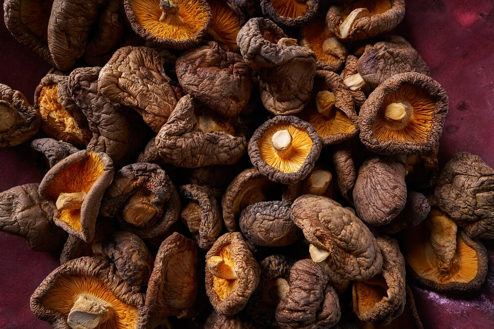 A picture of several dried shiitake mushrooms.