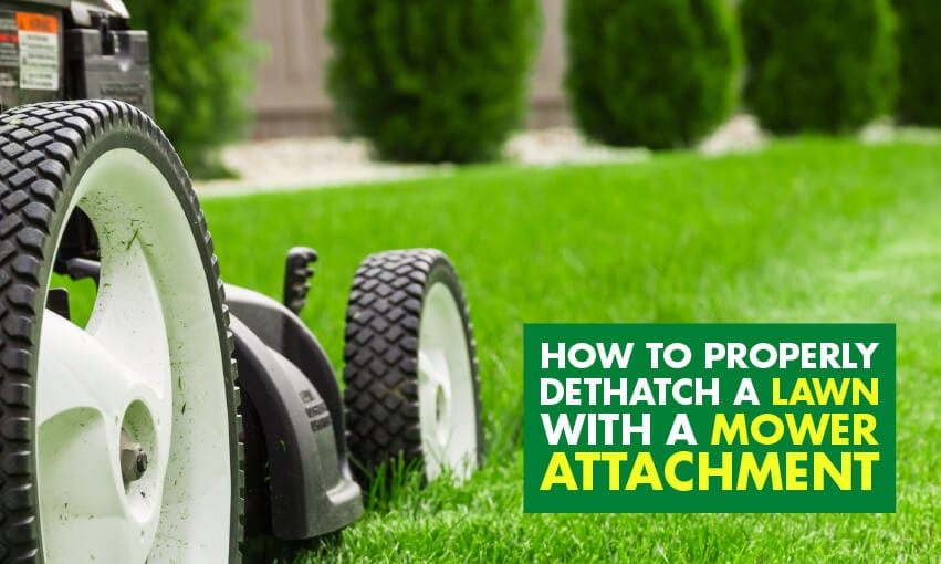A picture of a lawn mower on grass with text that reads how to properly dethatch a lawn with a mower attachment.